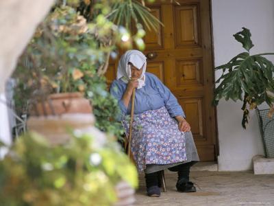 Old Woman Dozing at Monastery, Paleokastritsa, Corfu, Greek Islands, Greece