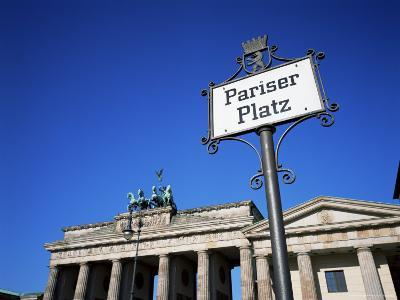 Street Sign and Brandenburg Gate, Berlin, Germany