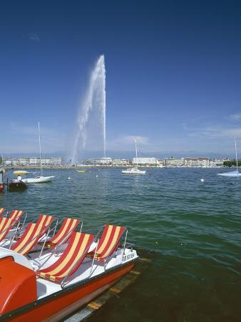 Lac Leman with Water Jet in Lake, Geneva, Switzerland