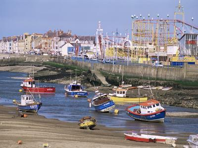 Amusement Park and Boats in Mouth of River Clwyd, Rhyl Town, Clywd, Wales, United Kingdom