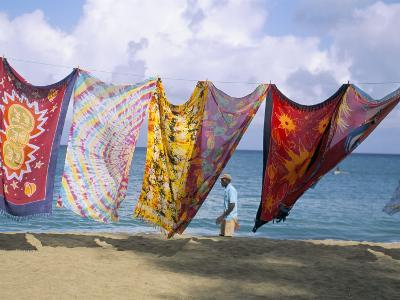 Batiks on Line on the Beach, Turtle Beach, Tobago, West Indies, Caribbean, Central America