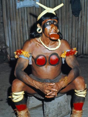 Suya Indian Dressed for Dance, Brazil, South America