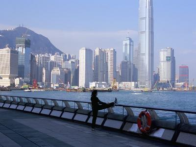 Morning Exercise, Victoria Harbour and Hong Kong Island Skyline, Hong Kong, China