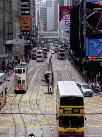 Trams, Des Voeux Road, Central, Hong Kong Island, Hong Kong, China