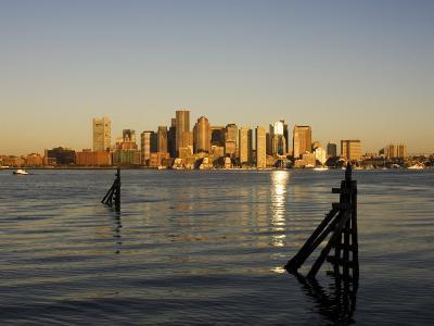 City Skyline Across the Harbor, Boston, Massachusetts, New England, USA