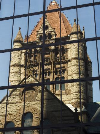 Trinity Church Reflected in the John Hancock Tower, Copley Square, Boston, New England