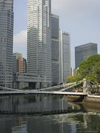 Cavenagh Bridge and the Singapore River Looking Towards the Financial District, Singapore