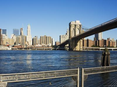 Brooklyn Bridge and Manhattan from Fulton Ferry Landing, Brooklyn, New York City, USA