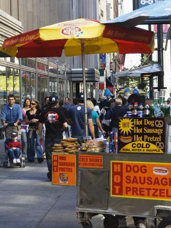 Hot Dog and Pretzel Stand, Manhattan, New York City, New York, USA