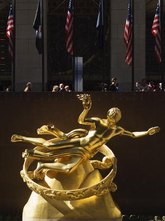 Statue of Prometheus in the Plaza of the Rockefeller Center, Manhattan, New York City, USA