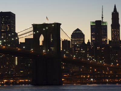 Manhattan Skyline and Brooklyn Bridge at Dusk, New York City, New York, USA