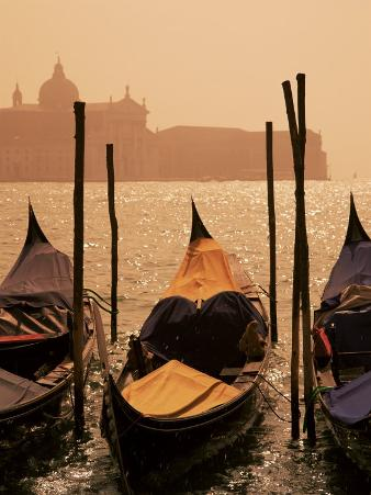 Gondolas on San Marco Canal and Church of San Giorgio Maggiore at Sunset, Venice, Veneto, Italy
