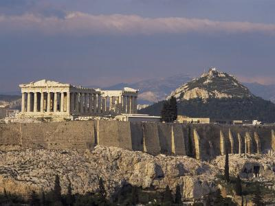The Acropolis, Unesco World Heritage Site, and Lykabettos Hill, Athens, Greece