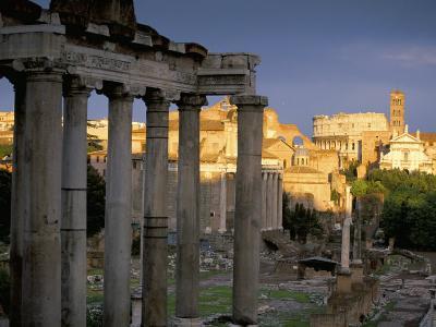 View Across Roman Forum Towards Colosseum and St. Francesca Romana, Rome, Lazio, Italy