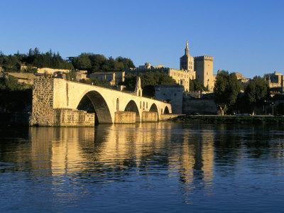 Papal Palace, Bridge and the River Rhone, Avignon, Provence, France