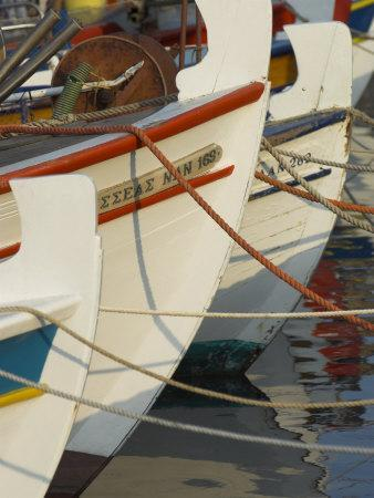 Close up of the Front of Three Fishing Boats in the Harbour, Sitia, Crete, Greek Islands, Greece