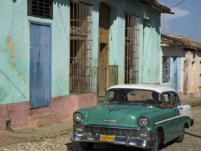 Typical Paved Street with Colourful Houses and Old American Car, Trinidad, Cuba, West Indies