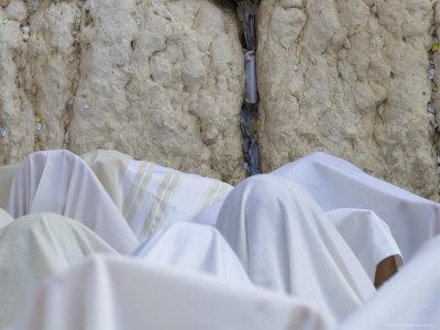 Men Covered with White Prayer Shawls Receiving the Blessing of the Cohens, Western Wall, Israel