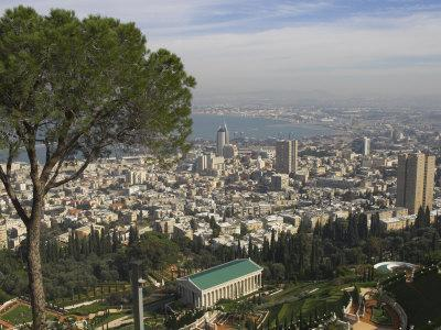 Elevated View of City and Bay from Mount Carmel, Haifa, Israel, Middle East