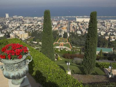 Elevated View of City Including Bahai Shrine and Gardens, Haifa, Israel, Middle East