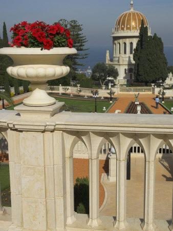 Bahai Gardens and Shrine, with Temple in the Background, Haifa, Israel, Middle East