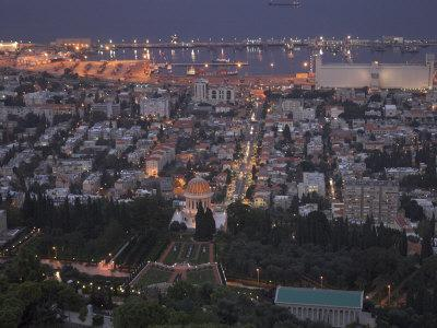 City at Dusk, with Bahai Shrine in Foreground, from Mount Carmel, Haifa, Israel, Middle East