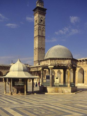 Courtyard with Fountains and Minaret Beyond, Jami'A Zaqarieh Grand Mosque, Aleppo, Syria