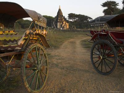 View at Sunset with Horse Cart and Typical Temple, Bagan (Pagan), Myanmar (Burma)