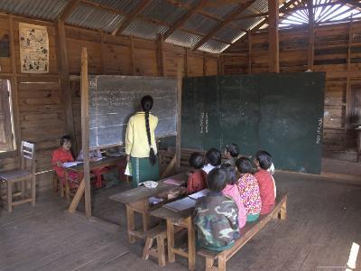 Pah Oh Minority Children in Local Village School, Pattap Poap Near Inle Lake, Shan State, Myanmar
