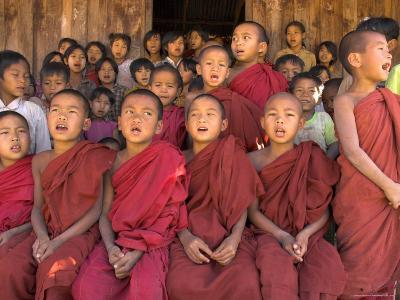 Group of School Children, Including Young Monks, Singing, Village of Thit La, Shan State, Myanmar