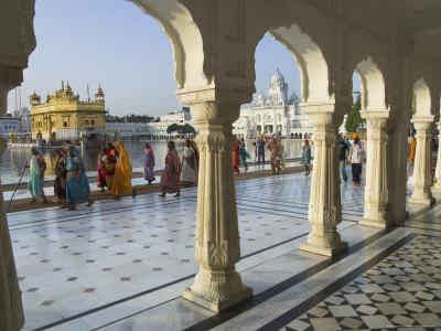 Group of Sikh Women Pilgrims Walking Around Holy Pool, Golden Temple, Amritsar, Punjab State, India