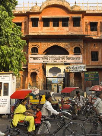 Ochre Facade of Old Building, Sireh Deori Bazaar, Old City, Jaipur, Rajasthan State, India