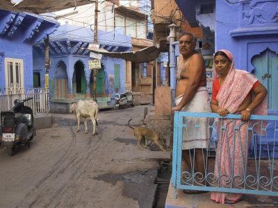 Couple Standing Outside Blue Painted Residential Haveli, Old City, Jodhpur, Rajasthan State, India