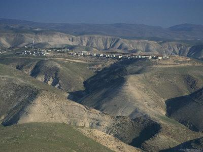 View in Winter with Typical Hills in Foreground and Alon Settlement Beyond, Judean Desert, Israel