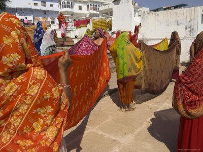 Group of Women Drying Their Saris by the Sacred Lake, Pushkar, Rajasthan State, India