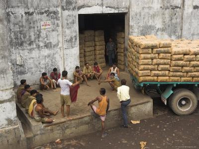 Warehouse Workers Having Rest Break at Carrit Moran & Company's Tea Warehouses at Kolkata Port