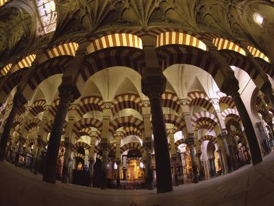 Interior of the Great Mosque, Houses a Later Christian Church Inside, Andalucia