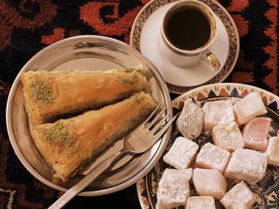 Typical Turkish Desserts - Baklava, Loukoumi (Turkish Delight), and Turkish Coffee, Turkey, Eurasia