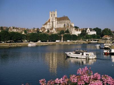 St. Stephen's Cathedral on Skyline, Auxerre, River Yonne, Bourgogne, France