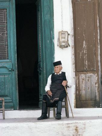 Old Man in Traditional Costume, Crete, Greece