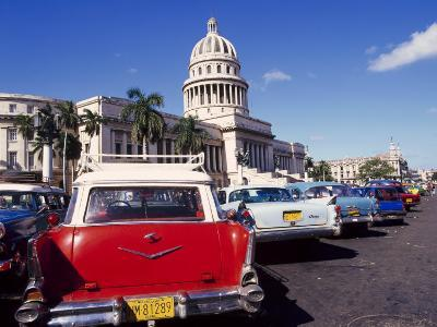 Street Scene of Taxis Parked Near the Capitolio Building in Central Havana, Cuba, West Indies