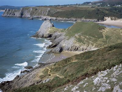 Pobbles Beach from the Pennard Cliffs, Gower, Wales, United Kingdom