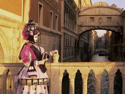 Carnival Costume and the Bridge of Sighs, Venice, Veneto, Italy