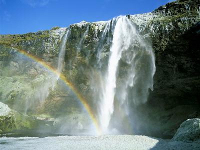 Seljalandsfoss Waterfall and Rainbow, Southern Area, Iceland, Polar Regions