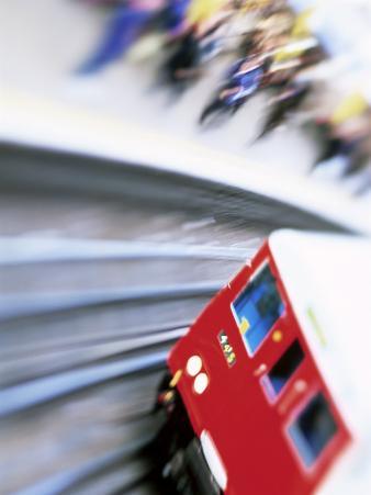 Blurred Motion of Underground Train Leaving Station, London, England, United Kingdom