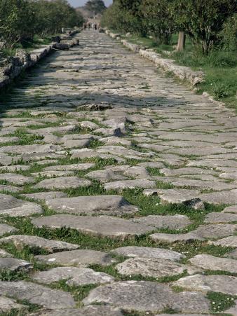 Roman Street, Paestum, Campania, Italy