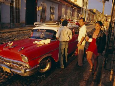 Street Scene with Old Car, Trinidad, Cuba, West Indies, Central America