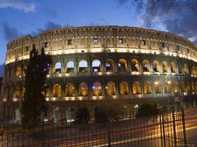The Colosseum at Night with Traffic Trails, Rome, Lazio, Italy