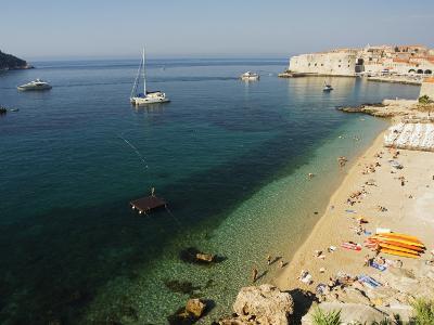 Old Town Beach and Harbour Area, Dubrovnik, Unesco World Heritage Site, Dalmatia, Croatia