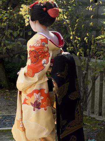 Geisha, Maiko in Gion, Kyoto City, Honshu, Japan